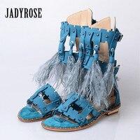 Jady Роза модные женские туфли перо декор сандалии гладиаторы с бахромой Дамская обувь Летняя обувь молния сзади заклепками Сандалии на плос