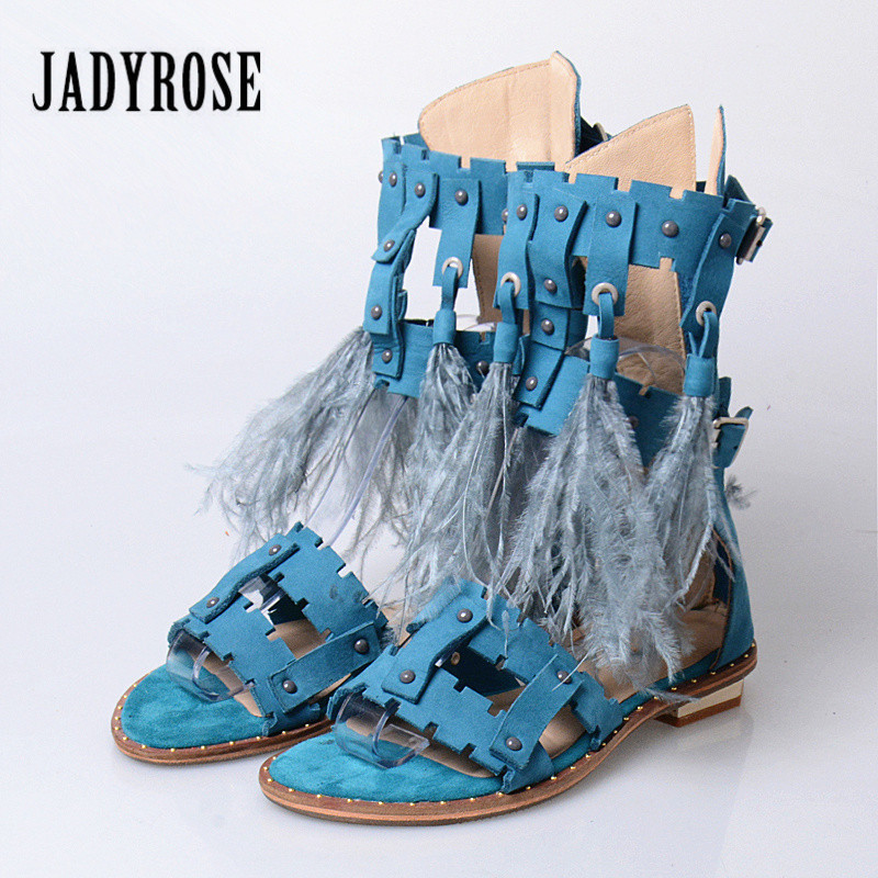 Jady Rose Fashion Women Feather Decor Sandals Gladiator Fringed Ladies Shoes Summer Boots Back Zip Rivets Studded Flat SandalJady Rose Fashion Women Feather Decor Sandals Gladiator Fringed Ladies Shoes Summer Boots Back Zip Rivets Studded Flat Sandal