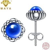 WAYA Fine Jewelry September Birthday Blooms Stud Earrings 925 Sterling Silver Earring For Women Wedding Original Jewelry