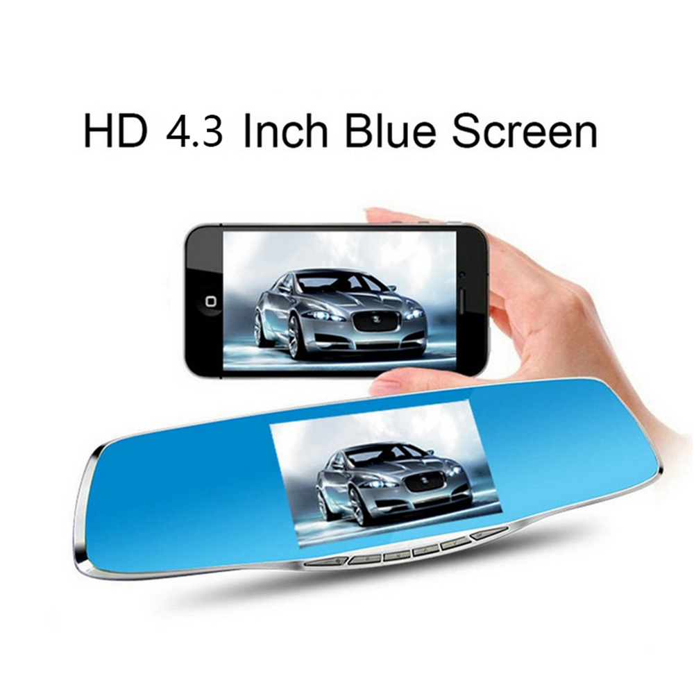 4.3 Inch rearview Mirror HD Dual Cameras Video Recorder Dash Cam Vehicles with Rear View Camera Car DVR night vision dual lens