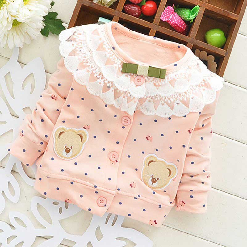 Casual Spring Autumn Baby Baby Infant Girls Lace Kids Cartoon Bear Long SleevePrincess Coat Cardigans Outwears Tops S2727