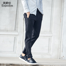 Enjeolon brand spring long straight trousers pants men gray solid casual pants men quality thick casual