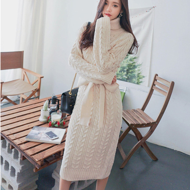 cf340115f1 Autumn Winter Europe and United States Vintage women's wool dress  thickening knit dress Casual Knitted Sweater
