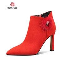 ROSSTYLE роскошные женские Зимние ботильоны качество ручной работы из натуральной кожи ботинки с острым носком на меху пикантные туфли на высо