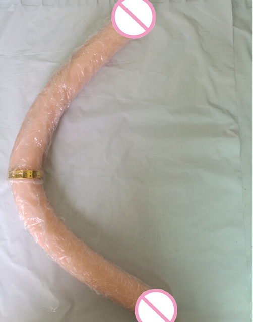Double dong head dildo flesh color realistic penis