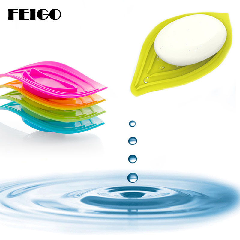 FEIGO 1Pcs Creative Leaf-Shaped Antiskid Soap Dish Soap Creative Bathroom Soap Dish Storage SoapBox Tray Drain Kitchen Tools F99