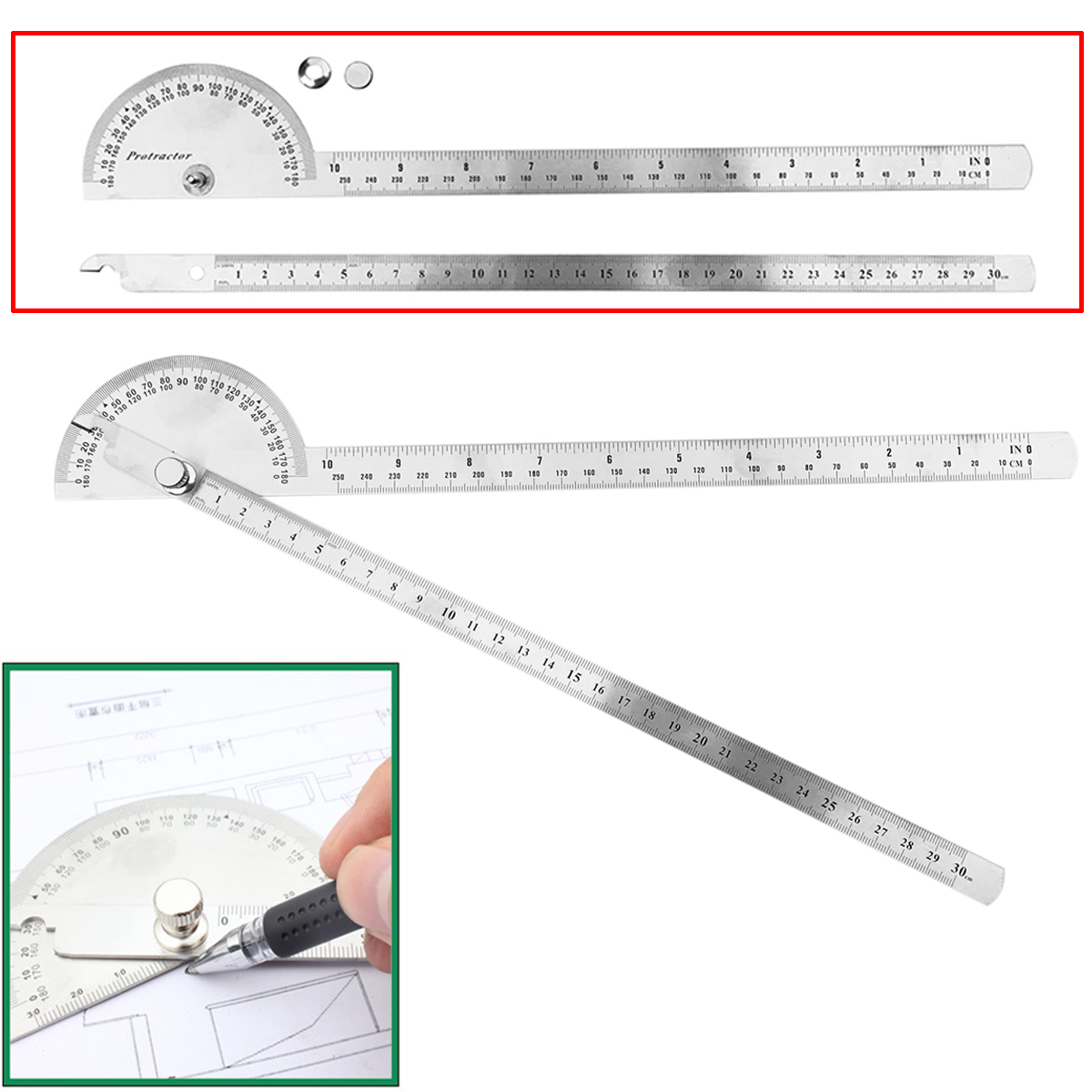 1pc Stainless Steel Angle Ruler 180 degree Protractor Finder Arm Measuring Tool 198 x 53 x 14mm Mayitr kapro multi function rectangular ruler woodworking square 90 degree stainless steel thickened ruler tool