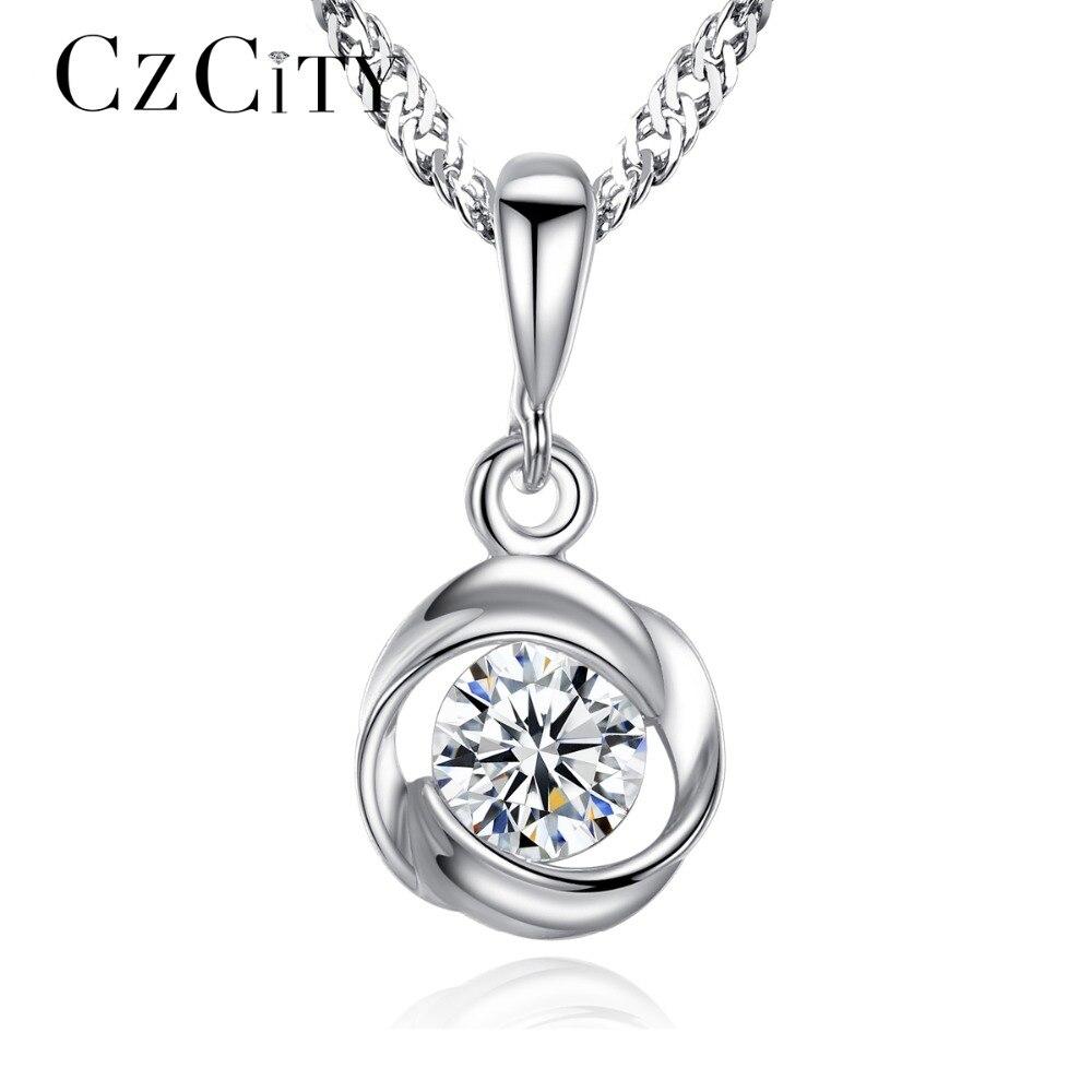 CZCITY Fine Bijoux Cubique Zircone Rose Fleur Classique 925 En Argent Sterling Pendentif Collier Femmes Chaîne Collier Bijoux Cadeau