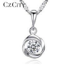 Sterling Silver Pendant Cubic Zircona Rose Flower Necklace