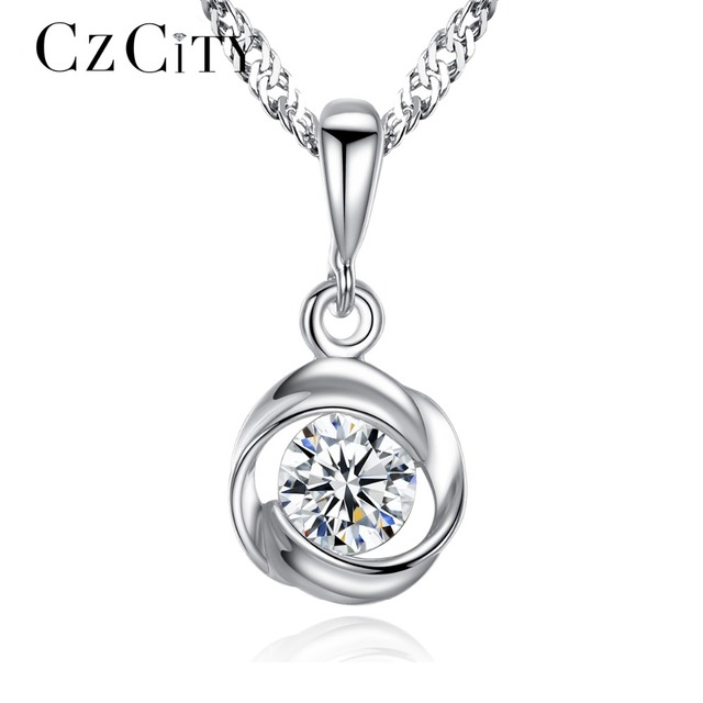CZCITY Chain Pendant Necklace Classic Rose Flower Cubic Zirconia 925 Sterling Si
