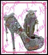 Aidocrystal Party wear rhinestone pearl decoration sexy white bridal women wedding shoes