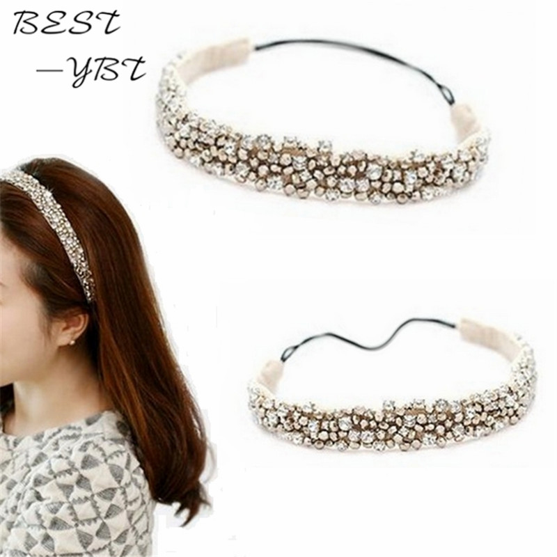 New Fashion 1 Pcs Collar Fashion Elastic Lace Hairband Rhinestone Beads Headband Hair Accessories Jewelry For Women Hot