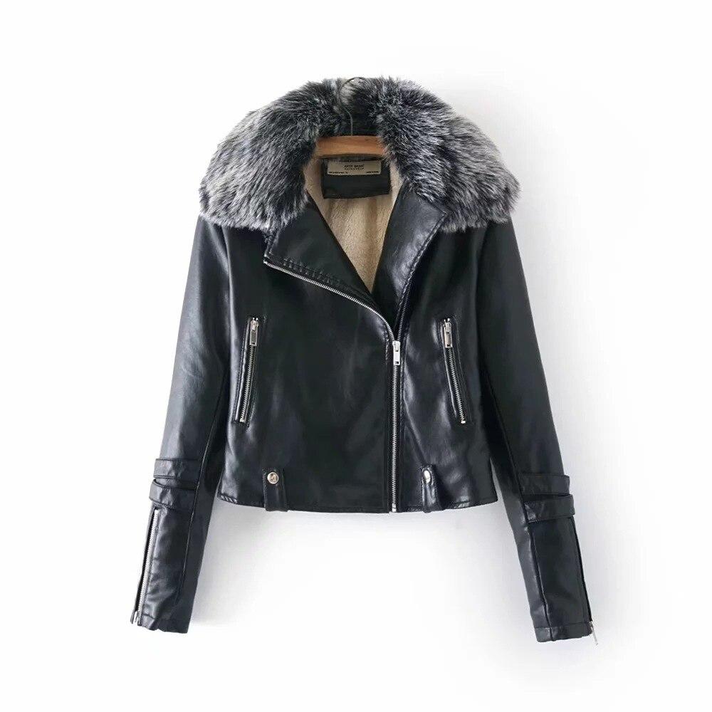 Polaire Manteau Chaud Mode Oblique Femme Hiver Courte Automne Faux Intérieur De Col Outwear En Épais Mince Veste Cuir Femmes Fourrure Zipper FwAqHxnqZX