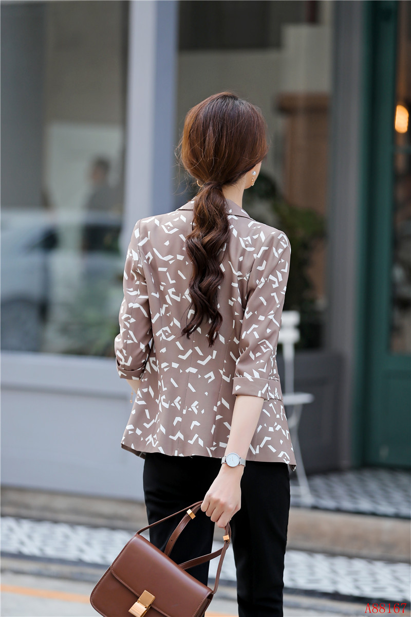 Fashion Casual Office Ladies Print Blazer Women Jackets Half Sleeve Female Work Wear Business Clothes