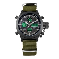 NORTH Watch Green Army Mens Sports Watches Quartz Relogio Military Nylon Leather Strap Auto Date Relojes