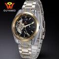 OUYAWEI Moon Phase Автоматические Механические Часы с Турбийоном 2017 Мужчины Роскошь Бизнес Автоподзаводом Мода Светящиеся Часы