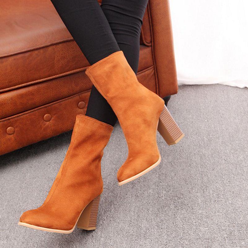 Calzado Sólida Tamaño Negro Cremallera Las De Terciopelo marrón Moda Mediados Mujeres La 43 Taoffen 34 Alto Ternero naranja Tacón Mujer Madura Zapatos Botas gOAUR