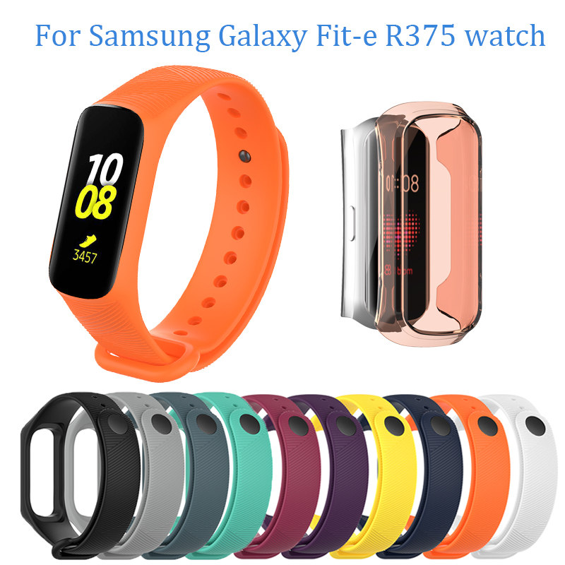 Silicone Watch Band For Samsung Galaxy Fit-e R375 Watch Strap Replacement TPU Full Protector Case For Galaxy Fit-e R375 Bracelet
