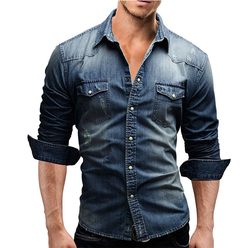 Men Shirt Brand 2018 Male Long Sleeve Shirts Casual Solid Color Denim Slim Fit Dress Shirts Mens 3XL 3011