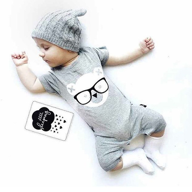 Unisex Baby Romper 2019 Summer Short Sleeve New Born Baby Girl Clothes Cartoon Print Baby Boy Romper Toddler Rompers 0-24M 2