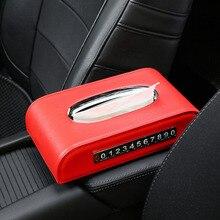 QHCP سيارة صندوق مناديل ورقية حامل منديل منشفة ورقية الحاويات سيارة الجلود ضخ كاسيت مع لوحات وقوف السيارات المؤقتة