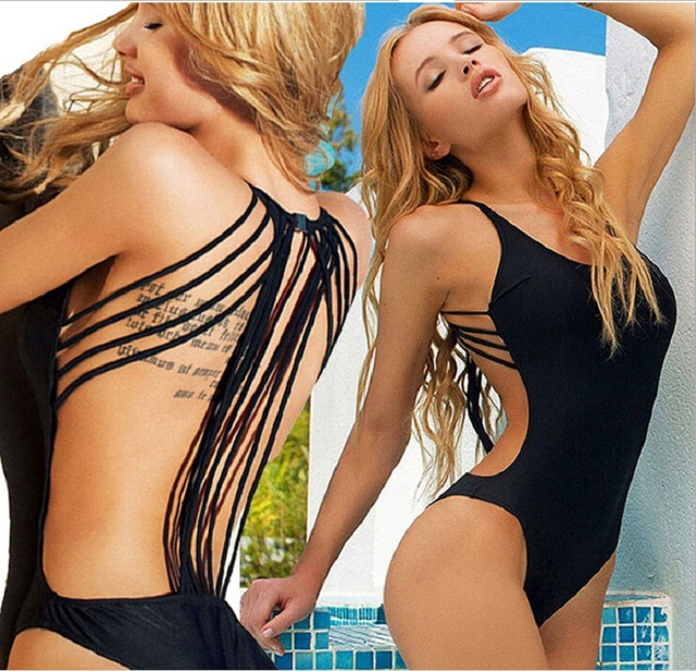 0fe85f6a7919f Sexy Swimsuit Women Black One piece Swimwear 2016 Hot backless One Piece  Bathing Suits for women monokini mayokini S-L 5 Colors