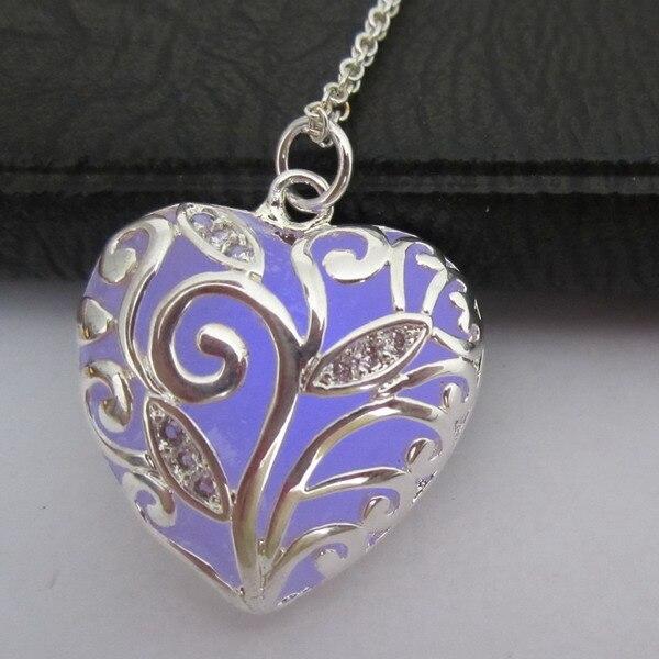 Free Shipping Filigree Heart Locket Purple Glow in Dark Pendant Lover Jewelry Gifts Necklaces locket
