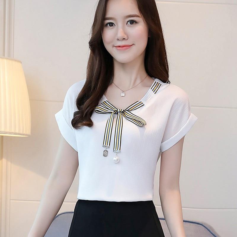 Blanc Mode Été Femme En Casual Blouses Vert Chemisier Courtes Manches Pour Shirts Féminine À Solide Mousseline blanc Femmes wAq1OBw