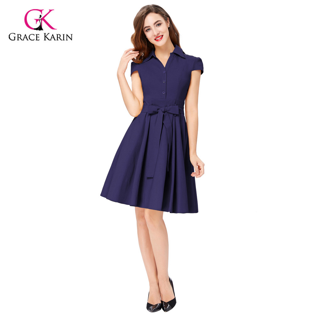 abeab60a8de9 Grace Karin Short Prom Dress 2018 Navy Blue 1950s 60s Swing Elegant Formal  Cocktail Vestidos Vintage Rockabilly Party Dress Belt-in Prom Dresses from  ...