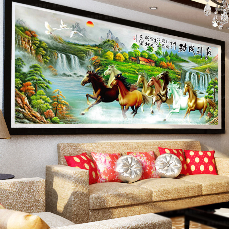 landscape full diamond mosaic embroidery crafts Eight horses diy 5d diamond painting cro ...