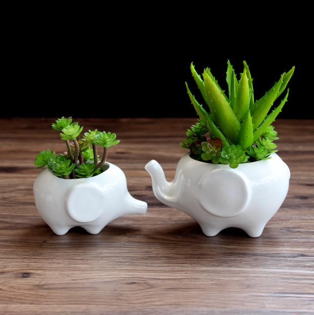 New Design Animal Shape Ceramic Planter Home Decor White Bonsai Pot For Succulents Garden Flower Pots Supplies