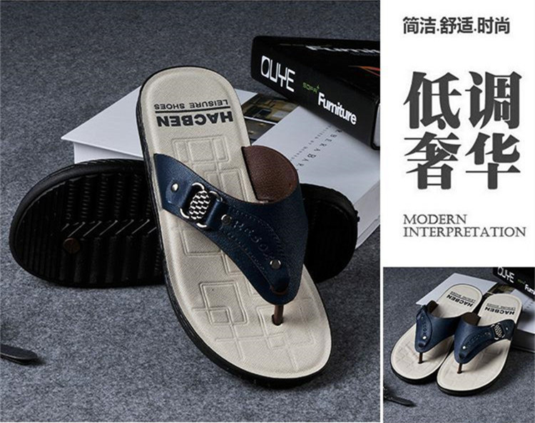 Вьетнамки мужские пляжные повседневные модные брендовые кожаные сандалии на платформе г. летние мужские шлепанцы,, высокое качество для отдыха, Лидер продаж - Цвет: blue