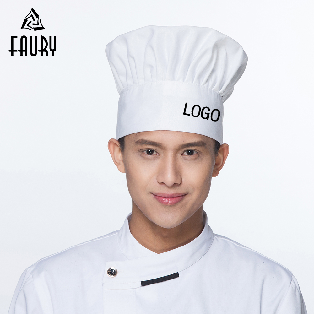 Free LOGO Printing Unisex Chef Hat Restaurant Kitchen Food Service Chef Cook Hats Waiter Workwear BBQ Mushroom Caps Wholesale