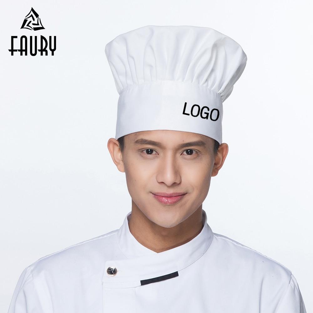 Free LOGO Printing Unisex Chef Hat Restaurant Kitchen Food Service Chef Cook Hats Waiter Workwear BBQ Mushroom Caps Wholesale