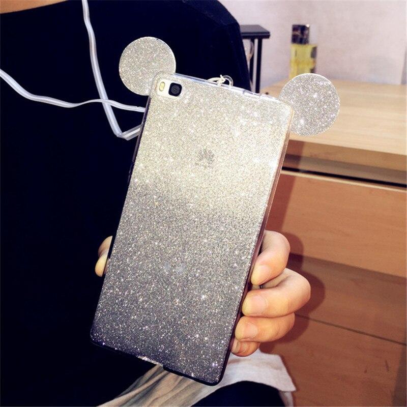 3D paillettes Minnie Mickey souris oreilles doux TPU étui pour huawei P20 PRO P8 P9 Lite 2017 P10 LITE étui dégradé housse coques de téléphone