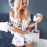 FEIBUSHI 2017 Summer Sexy Boho Red Floral Print Casual Jumpsuit Short Romper Ladies V Neck Women