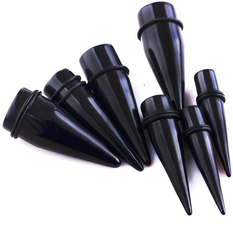 Kit de estiramiento de oreja negra acrílica UV, pendientes expansores, broches, Piercings para orejas 1,6-25 joyas para el cuerpo calibre 00 0g túnel