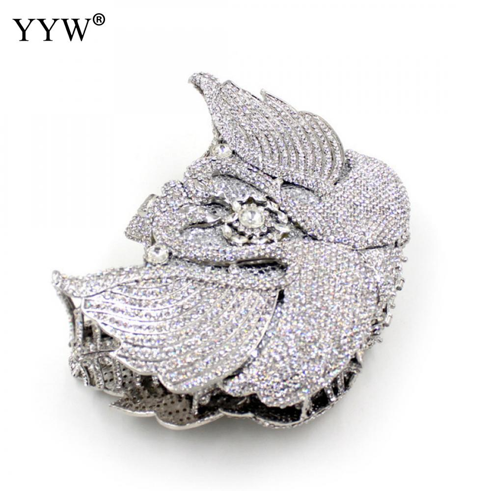 Newest Clutch Bag Swan Sliver Crystal Women Wedding Flower Party Purse Bride Chain Clutch Bag Rhinestone Night Evening Bag
