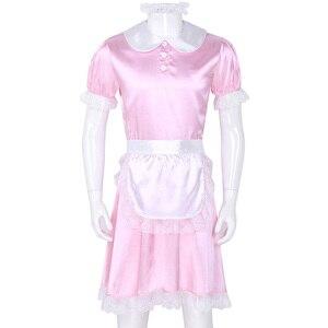 Image 3 - Seksowne męskie Sissy kostiumy dziewczyna pokojówka sukienka, mundurek kostium lalka szyi z krótkim rękawem satynowa sukienka z pałąkiem na głowę i fartuch Sexy Cosplay