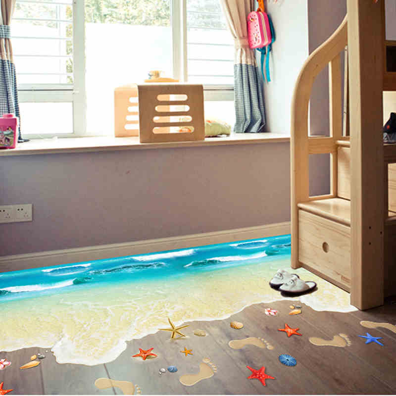 Creative 3D Floor Stickers Starfish Footprint Sea Beach