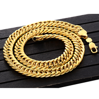 Mens 24inch Thick Heavy 24K Curb Link Chain Solid Gold FINSH MIAMI CUBAN Chain Hip Hop FREE SHIPPING