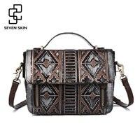 2016 New Women National Style Embossed Geometric Bag Ladies Genuine Leather Vintage Messenger Bag Female Classical