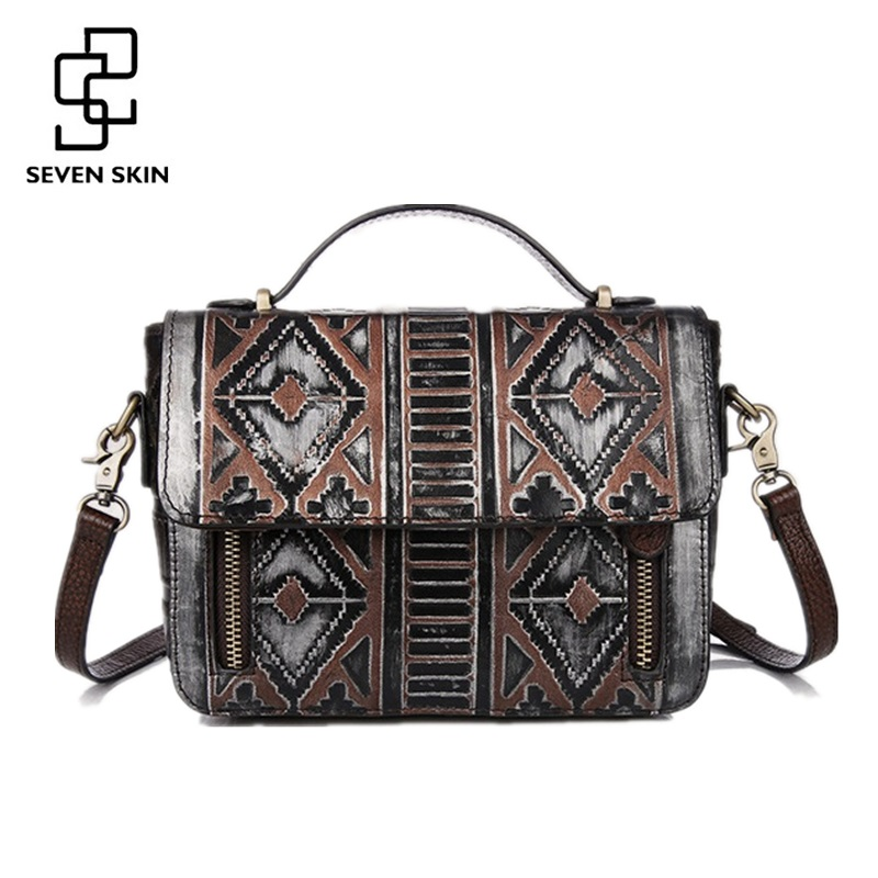 2017 New Women National Style Embossed Geometric Bag Ladies Genuine Leather Vintage Messenger Bag Female Classical Shoulder Bags caerlif brand genuine leather bag colorful stripe weave vintage national wind shoulder bags female bag women messenger bags