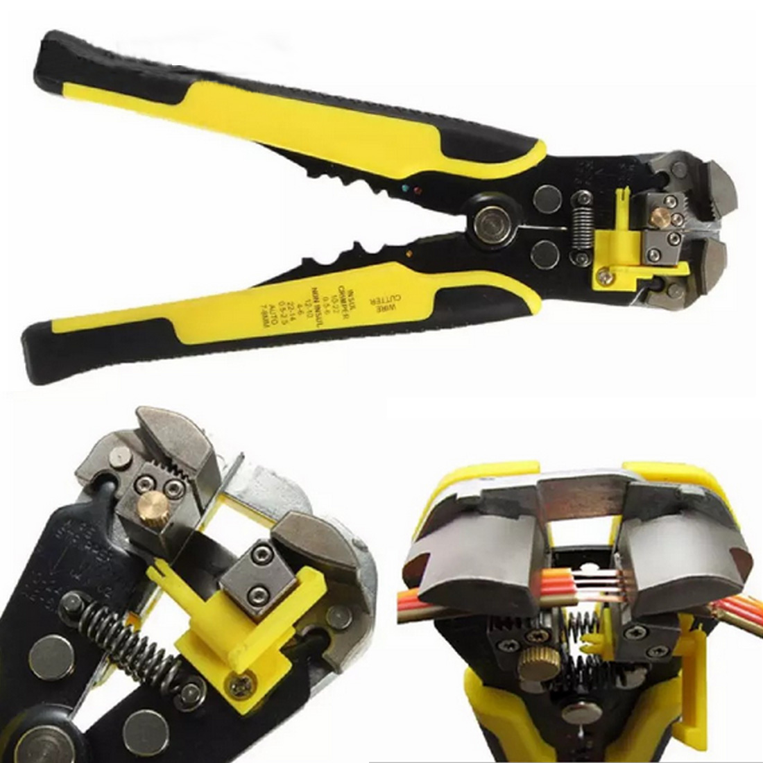 High HS-D1 Multi Functional Cable Wire Stripping 0.2-6.0mm Straight Cutting Crimping Tools Wire Stripper Yellow And Black