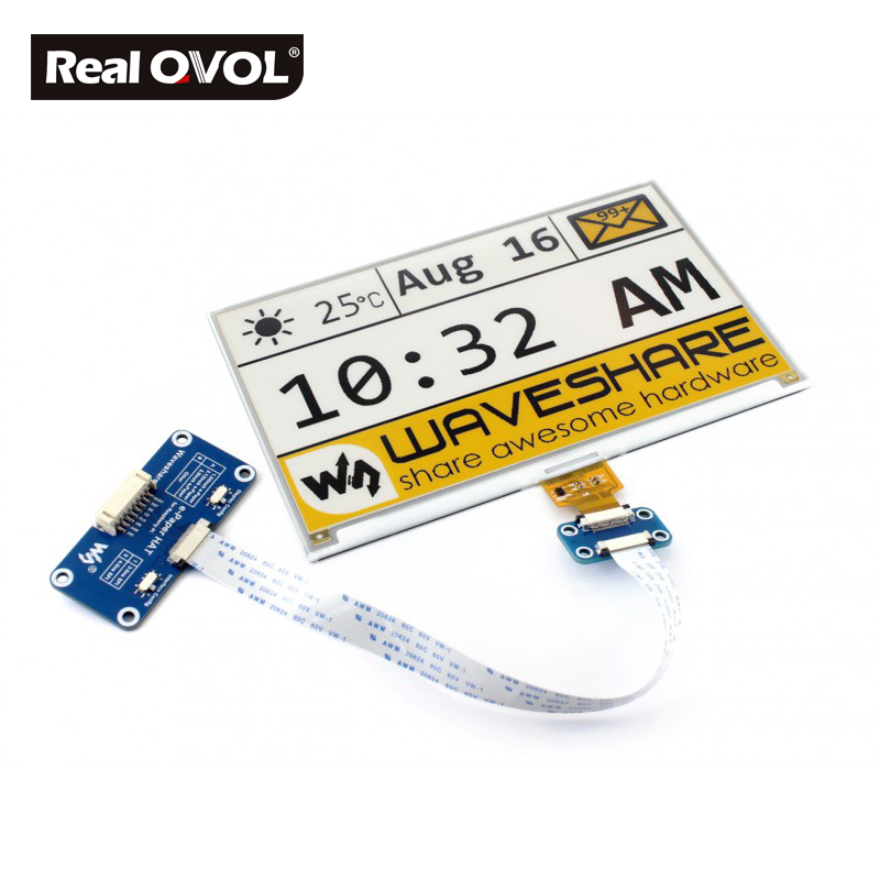 RealQvol 7.5inch e-Paper HAT (C) E-Ink display HAT for Raspberry Pi, yellow/black/white three-color, SPI interface 640x384
