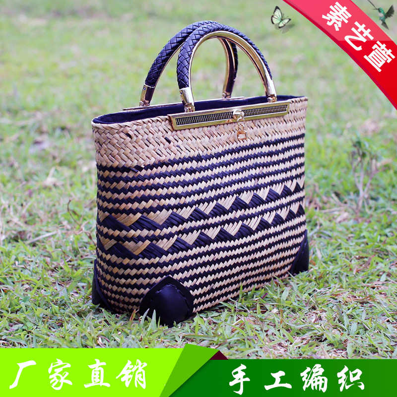 30x22CM Summer New Fashion Holiday Bag Thailand Straw Metal Handle Rattan Straw Bag Beach Travel Beach Bag A4778 wegogo women handbag new thailand straw bag ladies travel holiday summer beach bohemian boho weaving woven straw tote bag