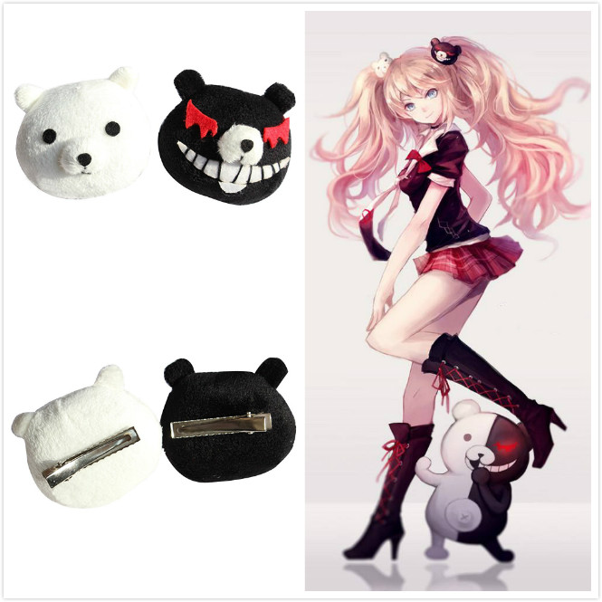 2 Pcs Anime <font><b>Danganronpa</b></font> Cosplay Accessories Enoshima Junko Hair clip Cute Monokuma Women Girl Headwear Hairpin Cartoon Hair Clip image