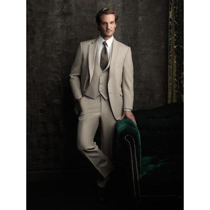 Suit-Set Tuxedos Wear Groomsman-Suits Beige Wedding Party Men's New-Fashion Pant Jacket