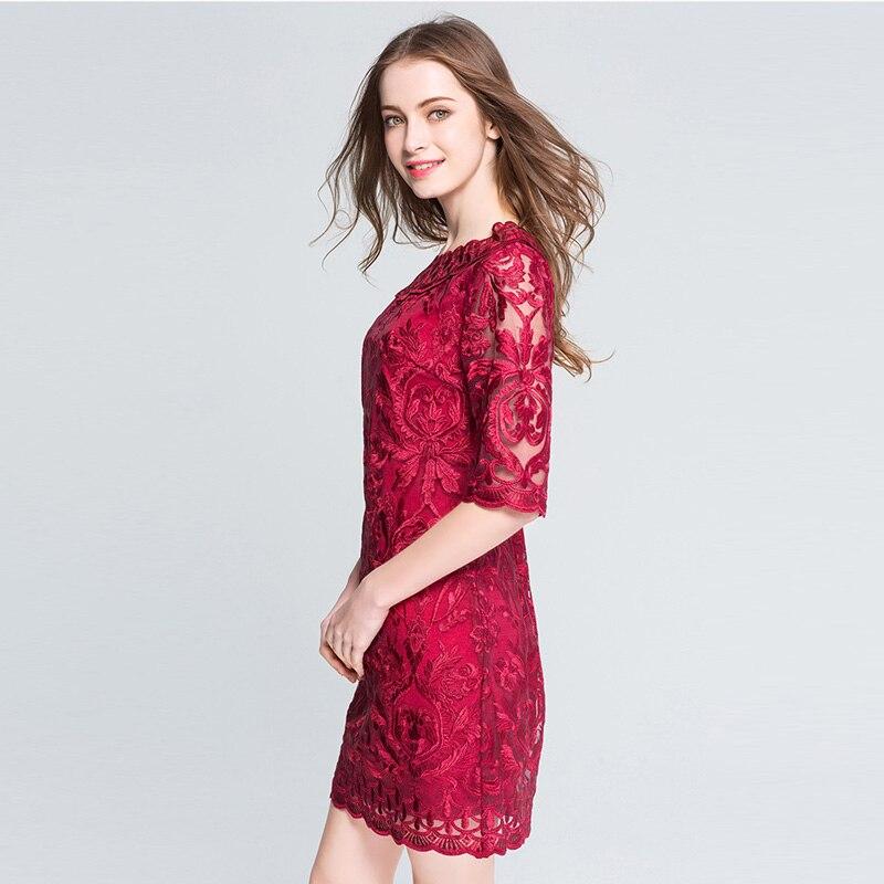 Frauen rote Spitze Stickerei Plus Size Kleider Herbst elegante große - Damenbekleidung - Foto 3