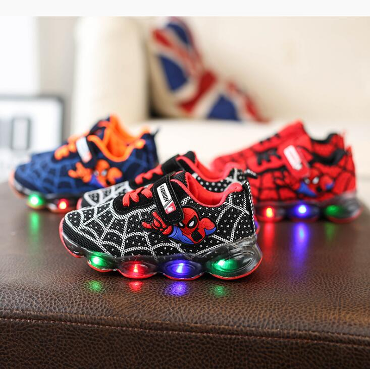 Brand Fashion LED lighted Children Shoes Cute Cool Spiderman Casual Kids Sneakers Infant Tennis Baby Girls Boys Shoes FootwearBrand Fashion LED lighted Children Shoes Cute Cool Spiderman Casual Kids Sneakers Infant Tennis Baby Girls Boys Shoes Footwear